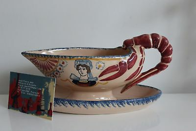 Norway lobster shape Sauceboat Henriot Quimper french pottery Majolica