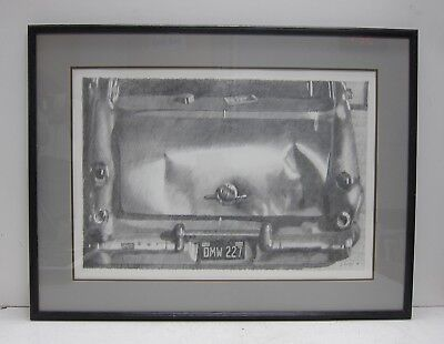 J. Rainey Signed Original 1974 Graphite Drawing of a Classic Car with Dents VTG