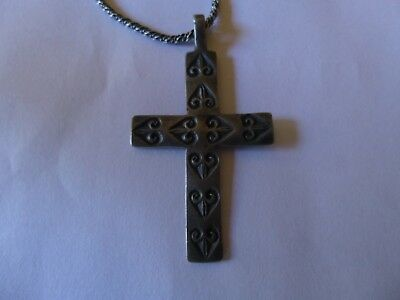 Ancient Silver Byzantine Cross And Sterling Necklace