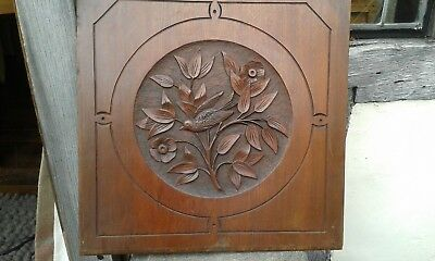 A Lovely Early Large Solid Hard Wood Hand Carved Pictorial Panel.