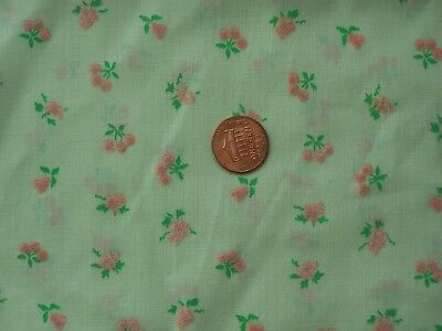 "Vintage Flocked Fabric Light Green with Flocked Pink Fruit 2 Yards 40"" Wide"