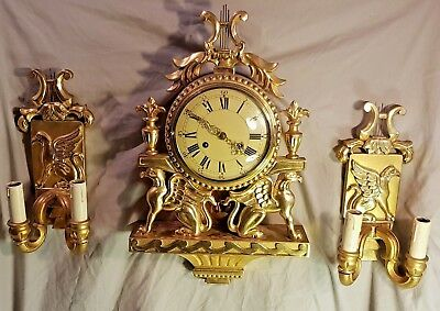 Vintage FHS Louis XV Rococo Style Gilt wood 8 Day Cartel Wall Clock Garniture