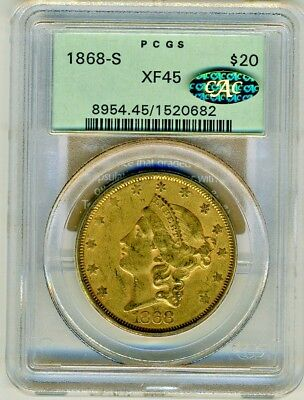 1868 S $20 PCGS XF45 Liberty Gold Double Eagle OH cac gold