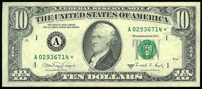 1988 A Boston $10 Federal Reserve Bank Star Note About Unc Condition Fr# 2028-A*