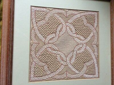Embroidered/tapestry picture abstract Celtic design in limed oak effect frame
