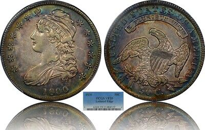Target Colorfully Blue Toned 1836 Capped Bust Half 50c PCGS VF-35 Both Sides!