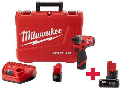 Milwaukee 1/4 in. Hex Impact Driver Kit w 6.0Ah Battery Charger Cordless 12-Volt
