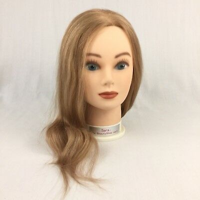 Sara My Beautyshop Pal Mannequin Cosmetology Head Blonde Human Hair