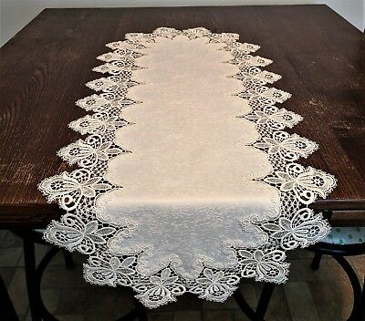 Doily Boutique Table Runner or Doily with Antique White Vintage Lace and Fabric