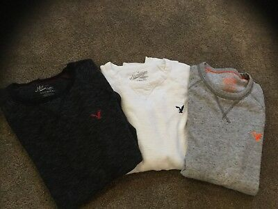 american eagle mens ( xsm) lot of 3 fine cut waffle shirts, with one extra free!