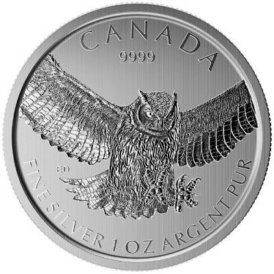 2015 $5 1 oz Fine Silver Great Horned Owl Canadian Birds Of Prey Series .9999 BU