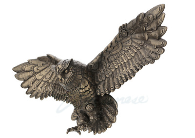 Flying Steampunk Owl Wall Plaque Statue Sculpture Figure *WALL DECOR*