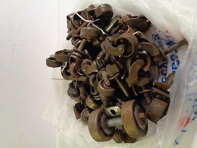 HUGE Lot of 46 Vintage Antique Metal Caster Wheels Casters Asst Sizes Styles