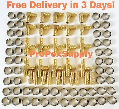 "(100 pcs) 3/8"" PEX Brass Fittings w/ Stainless Steel Cinch Clamps - Lead Free"