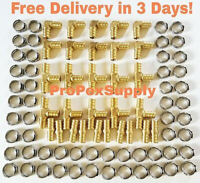 "(100 pcs) 3/4"" PEX Brass Fittings w/ Stainless Steel Cinch Clamps - Lead Free"
