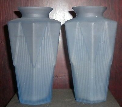 Pair Vintage Frosted  Blue Glass  Art Deco Motif Vases Great Condition