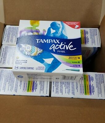 Tampax Active Pearl TriplePack Tampons, Unscented, 34ct -6boxes