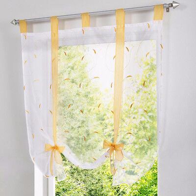 Floral Pattern Roman Curtains Yellow Voile Window Shade Blinds 80x140cm