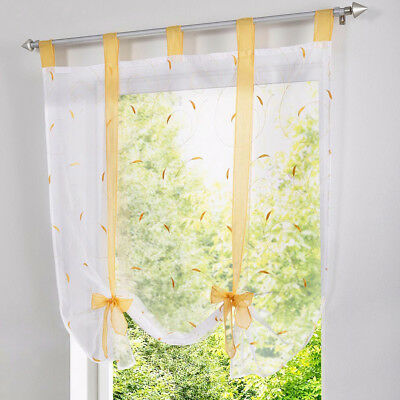 Floral Pattern Roman Curtains Yellow Voile Window Shade Blinds 60x140cm