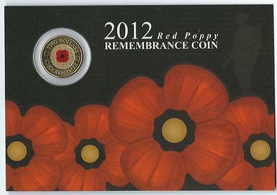 2012 $2 Unc Red Poppy Remembrance Coin On Card