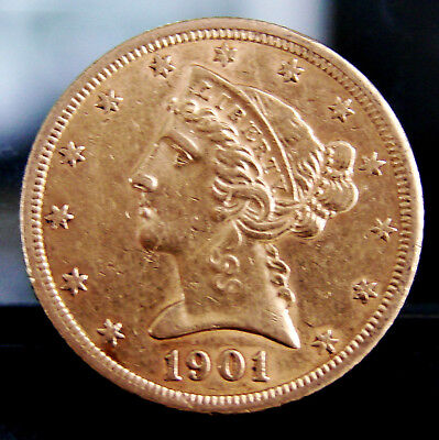 GREAT - 1901-S Liberty Head United States $5 Dollar 90% Gold Coin