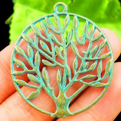 Carved Bronze Tree Round Pendant Bead 37x1mm L09364