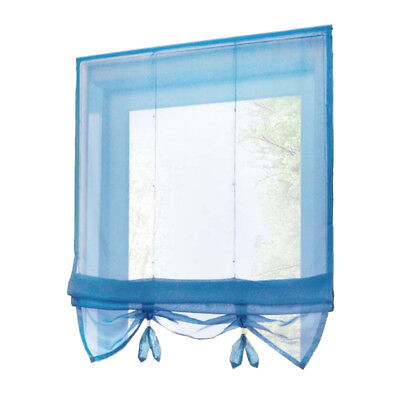 Solid Blue Roman Curtains Sheer Window Shade Blinds (Rod Pocket 80x155cm)