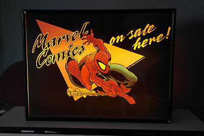 1990s MARVEL COMICS COMIC BOOK STORE LIGHTED DISPLAY SIGN W/ 10 DIFFERENT FRAMES