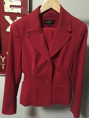 ESCADA 36 Lady In Red Luxury Wool Designer Jacket Pants Blazer Womens Suit