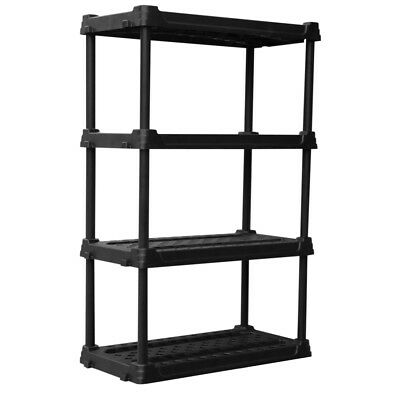 4-Tier Heavy Duty Plastic Freestanding Shelving Unit Garage Basement Storage,NEW