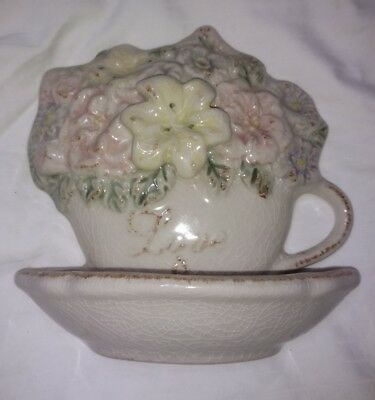Vintage Art Pottery ceramic love is kind Flowers Tea Cup Wall Pocket