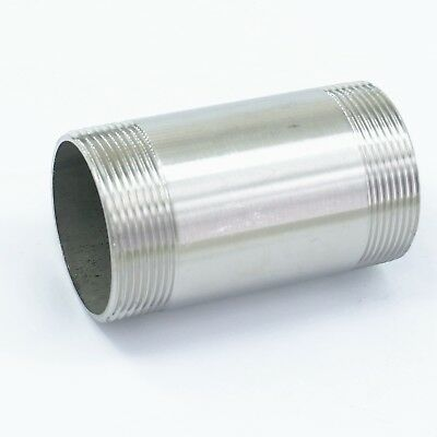 BSP Male Length 100mm Barrel Nipple 304 Stainless Steel Pipe Fitting Connector
