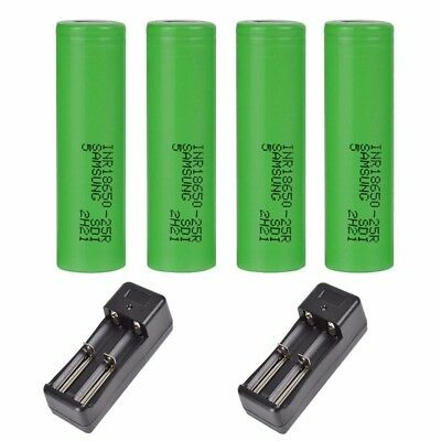 USA For Samsung INR 18650 25R 2500mAh Battery for Vape Mods Charger Optional