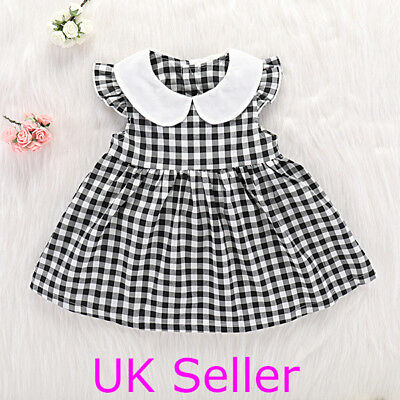 Summer Toddler Infant Baby Girls Checked Dress Princess Party Casual Sundress UK