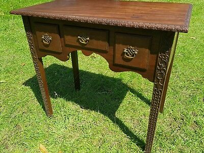 Antique Georgian Carved Oak Low Boy Side Hall Table