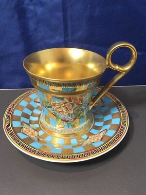 Rosenthal Versace Floral Elegy Pink Rose Tea Cup with Saucer Collection NEW