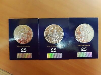 Five Pounds Coin £5 Red Dragon,  Unicorn, Lion, Brilliant,unc