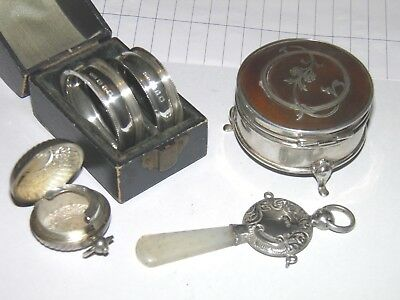 Antique Silver Box - Napkin Rings - Chester Silver Child Teething - Coin Case