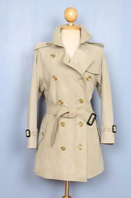 Womens BURBERRY Double Breasted Short TRENCH Coat Mac Olive 12/14