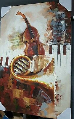 Beautiful oil painting on canvas framed cello piano French horn music 92x62cm
