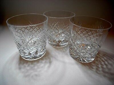 Set of Three High Quality Hand Cut Lead Crystal Whisky Tumblers