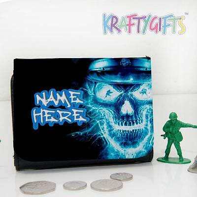 Personalised Skull Gamer Boys Childrens Lunch Wallet Money Gift ST733