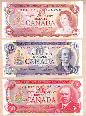 1971-75 Bank of Canada Multi Color Bank of Canada Notes:  $2, $10, $50 RCMP