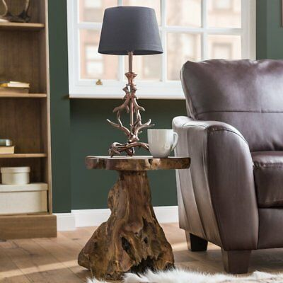 Rustic Side Table Furniture Living Room Coffee Table Wooden Teak Tree Root New