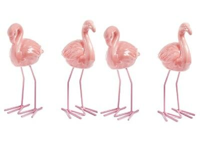 "4 Ceramic Flamingo decoration Figurines w/ metal legs 7"" tall"