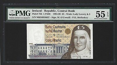 1999 Ireland 5 Pounds, Series C, PMG 55 EPQ AU+. P-75b Popular Series of Notes