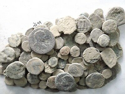 Lot of 100 Low Quality Uncleaned Ancient Roman/Greek/Other Coins; 255.7 Grams!!