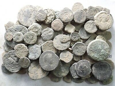 Lot of 100 Low Quality Uncleaned Ancient Roman/Greek/Other Coins; 277.9 Grams!!