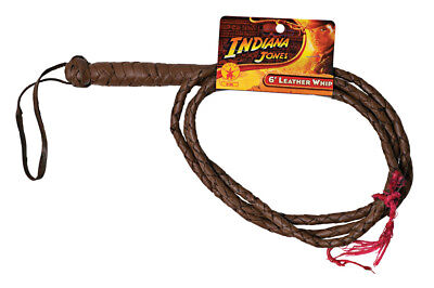 Indiana Jones Whip Costume Accessory 6 Ft Leather Bullwhip Brown Halloween Prop