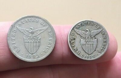 American Philippines 5 five centavos 1903 large size & 1932 reduced size